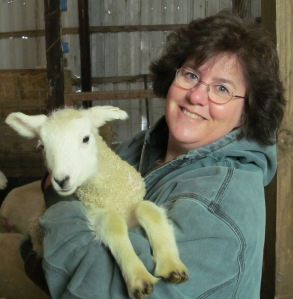 Pegg with white lamb 4-6-13